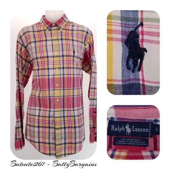 188074f2 Polo by Ralph Lauren Shirts | Polo Ralph Lauren L Madras Plaid Hand ...